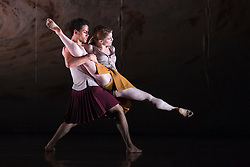 "© Licensed to London News Pictures. 18/11/2014. London, England. Dane Hurst and Hannah Rudd performing Terra Incognita choreographed by Shobana Jeyasingh. British dance company ""Rambert"" perform their new show ""Triptych"" at Sadler's Wells Theatre from 18 to 22 November 2014. Choreographed by Shobana Jeyasingh with Luke Ahmet, Lucy Balfour, Adam Blyde, Carolyn Bolton, Simone Damberg Würtz, Dane Hurt, Vanessa King, Adam Park, Hannah Rudd and Pierre Tappon dancing. Photo credit: Bettina Strenske/LNP"