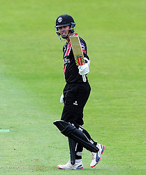 Somerset's Tom Cooper celebrates his century - Photo mandatory by-line: Harry Trump/JMP - Mobile: 07966 386802 - 29/07/15 - SPORT - CRICKET - Somerset v Durham - Royal London One Day Cup - The County Ground, Taunton, England.