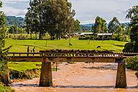 Men herding donkeys over a bridge, Demebecha, Amhara region, Ethiopia.