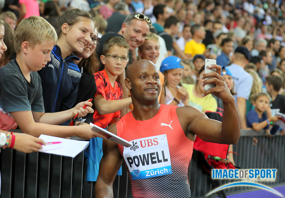 Sep 1, 2015; Zurich, SWITZERLAND; Asafa Powell (JAM) poses after winning the 100m in 9.94 at the 2016 Weltklasse Zurich during an IAAF Diamond League meeting at Letzigrund Stadium. Photo by Jiro Mochizuki