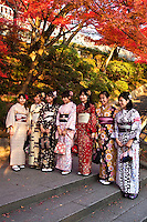 """Kimono differ in style and color depending on the occasion on which it is worn and the age and marital status of the person wearing it. To put on a kimono needs some practice. Especially tying the belt alone is difficult so that many people require assistance. Wearing a kimono properly includes the proper hair style, shoes, socks, and even underwear.  Nowadays it is popular to """"dress up in kimono for a day"""" even for foreign visitors."""
