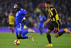 Cardiff City's Oumar Niasse (left) is fouled by Watford's Etienne Capoue during the Premier League match at the Cardiff City Stadium.