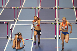 March 2, 2018 - Birmingham, United Kingdom - Elisavet Pesiridou (Greece) hits her hurdle and falls hard during the IAAF World Indoor Championships. (Credit Image: © Hurdles-2.jpg/SOPA Images via ZUMA Wire)
