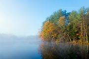 Misty morning sunrise on Lake Rohunta.