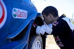 October 6, 2017 - Salou, Catalonia, Spain - The french driver, Sbastien Ogier of M-Sport team fixing his Ford Fiesta WRC during the first day of Rally Racc Catalunya Costa Daurada, on October 6, 2017 in Salou, Spain. (Credit Image: © Joan Cros/NurPhoto via ZUMA Press)