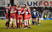 Leicester Tigers players huddle to re-group after conceding a try during a Gallagher Premiership Rugby Union match Sale Sharks -V- Leicester Tigers, won by Sale 36-3 Friday, Feb. 21, 2020, in Eccles, United Kingdom. (Steve Flynn/Image of Sport via AP)