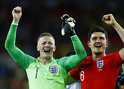 July 3, 2018 - Moscow, Russia - Jordan Pickfordand and Harry Maguire of England celebrate the victory after the penalty shootout of the 2018 FIFA World Cup Russia Round of 16 match between Colombia and England at Spartak Stadium on July 3, 2018 in Moscow, Russia. (Credit Image: © Matteo Ciambelli/NurPhoto via ZUMA Press)
