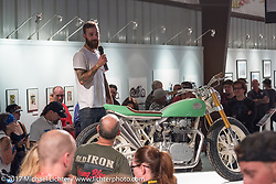 Custom builder Paul Martin of Calgary, Canada speaking about his bike at the Old Iron - Young Blood exhibition media and industry reception in the Motorcycles as Art gallery at the Buffalo Chip during the annual Sturgis Black Hills Motorcycle Rally. Sturgis, SD. USA. Sunday August 6, 2017. Photography ©2017 Michael Lichter.