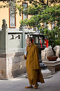 Buddhist monk in saffron robes at the Jade Buddha Temple, Shanghai, China