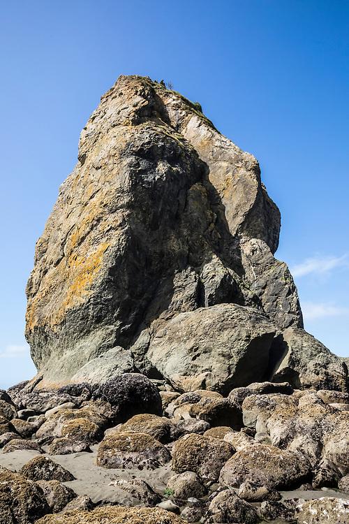 A sea stack rock pinnacle off of 2nd Beach, Olympic Coast National Marine Sanctuary / National Park, Washington, USA.