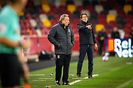 Middlesbrough manager Neil Warnock and Brentford manager Thomas Frank (pointing) look on from the touchline during the EFL Sky Bet Championship match between Brentford and Middlesbrough at Brentford Community Stadium, Brentford, England on 7 November 2020.