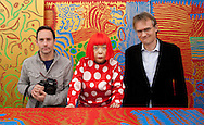Japanese artist Yayoi Kusama in her studio, with JSH and Richard Lloyd Parry (on right of pic)- journalist for The Times, in Tokyo, Japan, on Wednesday 25th January 2012.