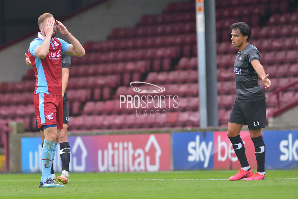 Kevin van Veen (10) anguish for missing a goal during the Pre-Season Friendly match between Scunthorpe United and Doncaster Rovers at Glanford Park, Scunthorpe, England on 15 August 2020.
