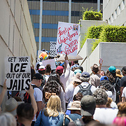 Protestors in Los Angeles take to the streets for the national Families Belong Together demonstration. Over 70,000 people took to downtown Los Angeles to protest against President Trump's immigration policies, in particular the policy to separate children from their parents at the border. Demonstrators also called to abolish the Immigration and Customs Enforcement (ICE) agency which is responsible for detaining and deporting immigrants.