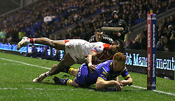 Warrington Wolves Harvey Livett scores his sides second try of the game against St Helens during the Betfred Super League match at The Halliwell Jones Stadium, Warrington.