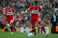 Marvin Johnson of Middlesbrough in action. EFL Skybet championship match, Fulham v Middlesbrough at Craven Cottage in London on Saturday 23rd September 2017<br /> pic by Steffan Bowen, Andrew Orchard sports photography.