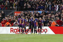 March 9, 2019 - Barcelona, Catalonia, Spain - FC Barcelona defender Gerard Pique (3) with his teammates of FC Barcelona celebrates after scoring the goal during the match FC Barcelona v Rayo Vallecano, for the round 27 of La Liga played at Camp Nou  on 9th March 2019 in Barcelona, Spain. (Credit Image: © Mikel Trigueros/NurPhoto via ZUMA Press)
