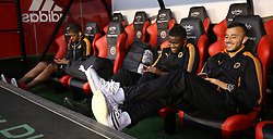 Wolverhampton Wanderers players relax in the dugout before during the Sky Bet Championship match at Bramall Lane, Sheffield.