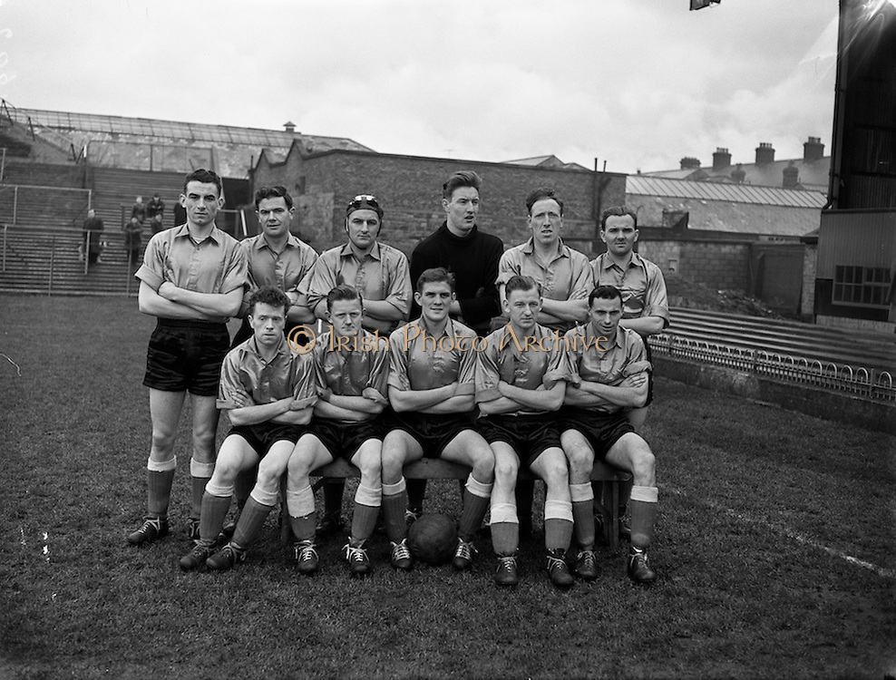 15/02/1958<br /> 02/15/1958<br /> 15 February 1958<br /> Soccer: FAI Cup game, Bohemians v Evergreen United at Dalymount Park, Dublin. The Evergreen Team.