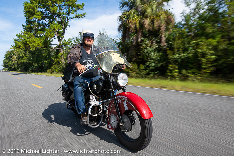Tim McIntyre riding his 1948 Indian Chief in the Cross Country Chase motorcycle endurance run from Sault Sainte Marie, MI to Key West, FL. (for vintage bikes from 1930-1948). 287 mile ride of Stage-8 from Tallahassee to Lakeland, FL USA. Friday, September 13, 2019. Photography ©2019 Michael Lichter.
