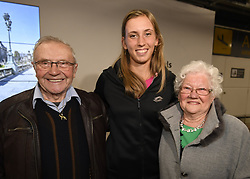 January 27, 2018 - Bruxelles, BELGIQUE - BRUSSELS, BELGIUM - JANUARY 27:  Belgian tennis player Elise Mertens with ops Harry and Oma Madelaine (semi finalist at the Australia Open) pictured during her come back in Brussels Airport Belgium on january 27, 2018 in Brussels, Belgium, 27/01/2018 (Credit Image: © Panoramic via ZUMA Press)