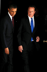 British Prime Minister David Cameron and the US President Barack Obama leaving  Number 10 Downing St , Tuesday May 24, 2011. Photo By Andrew Parsons/ Parsons Media