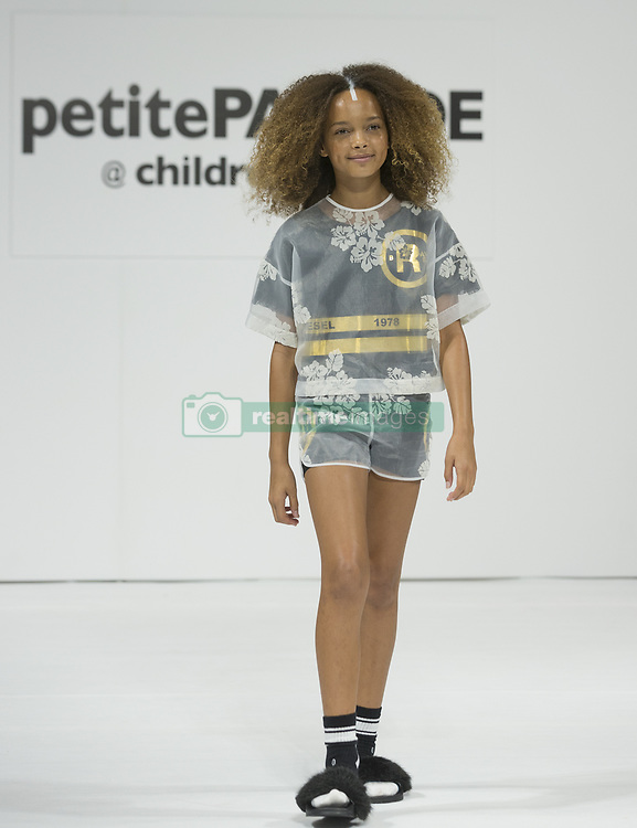 August 7, 2017 - New York, New York, United States - Young model walks runway for Diesel Kid during ''PetiteParade @ Children's Club'' August 2017 edition at Jacob Javits Center. (Credit Image: © Lev Radin/Pacific Press via ZUMA Wire)