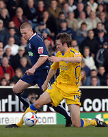 Photo: Ashley Pickering.<br />Southend United v Leicester City. Coca Cola Championship. 03/03/2007.<br />Gareth McAuley of Leicester (R) shields the ball from Freddy Eastwood of Southend