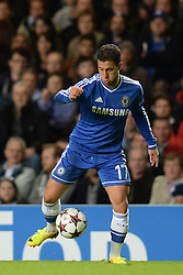 LONDON, ENGLAND - September 18: Chelsea's Eden Hazard   during the UEFA Champions League Group E match between Chelsea from England and Basel from Switzerland played at Stamford Bridge, on September 18, 2013 in London, England. (Photo by Mitchell Gunn/ESPA)