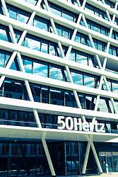 Detail of facade of new headquarters of 50Hertz power company under construction in new Europacity property development in Berlin Germany