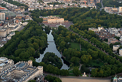 General aerial view of Buckingham Palace and its surrounding area in central London.