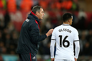 Paul Clement, the Swansea city manager speaks with Martin Olsson of Swansea city. EFL Carabao Cup 4th round match, Swansea city v Manchester Utd at the Liberty Stadium in Swansea, South Wales on Tuesday 24th October 2017.<br /> pic by  Andrew Orchard, Andrew Orchard sports photography.