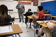 Mr. Cavazos teaches a middle school business class at Olfen ISD School in Rowena, Texas on January 20, 2016. (Cooper Neill for The Texas Tribune)