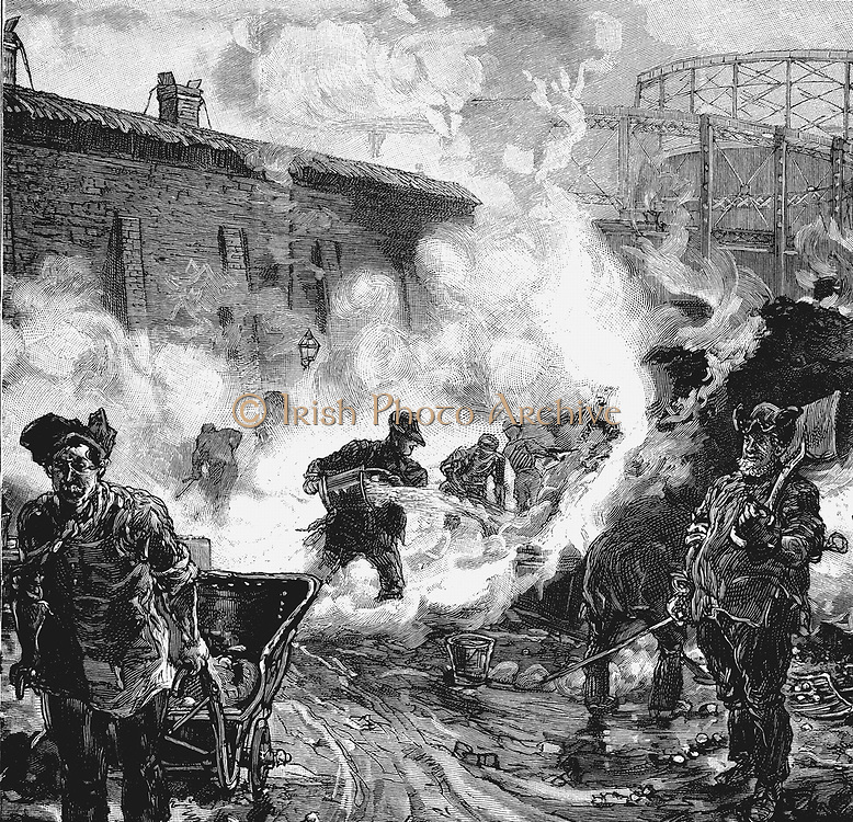 South Metropolitan Gas Company's works, East Greenwich, London: Quenching coke. Wood engraving published Paris, 1891