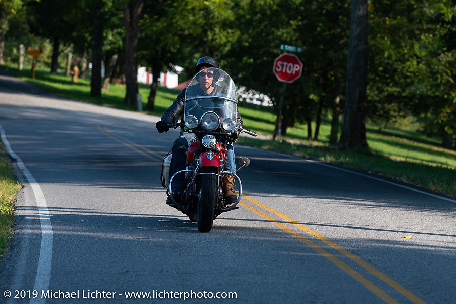 Canadian John Phillips riding his 1947 Harley-Davidson EL Knucklehead in the Cross Country Chase motorcycle endurance run from Sault Sainte Marie, MI to Key West, FL (for vintage bikes from 1930-1948). Stage 5 had riders cover 213 miles from Bowling Green, KY to Chatanooga, TN USA. Tuesday, September 10, 2019. Photography ©2019 Michael Lichter.