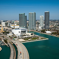 Aerial view Marina Blue residential building and American Airlines Arena photographed for architecture firm Arquitectonica.