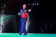 Dimitri Van den Bergh enters the arena during the PDC Premier League Darts Night 11 at Marshall Arena, Milton Keynes, United Kingdom on 6 May 2021.