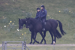 © Licensed to London News Pictures. 28/04/2021. Windsor, UK. Prince Andrew is seen horse riding in the grounds of Windsor Castle. It is being reported that the Duke of York started a business with a former Coutts banker who had to resign over allegations of sexual harassment. Photo credit: Peter Macdiarmid/LNP