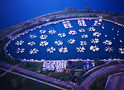 Aerial view of sailboats docked in a small boat harbor along the shore of Lake Michigan at Lincoln Park, Chicago, Illinois.