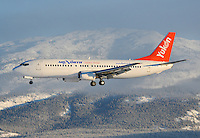 Air North Boeing 737 landing in Whitehorse, Yukon