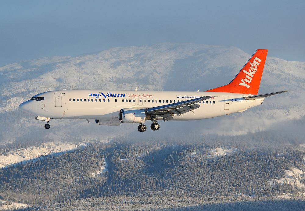 Air North Boeing 737 landing in Whitehorse, Yukon