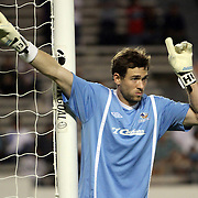 Pittsburgh Riverhouds goaltender Hunter Gilstrap (1) sets up a wall during a United Soccer League Pro soccer match between the Pittsburgh Riverhounds and the Orlando City Lions at the Florida Citrus Bowl on May 14, 2011 in Orlando, Florida. Orlando won the game 1-0. (AP Photo/Alex Menendez)