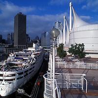 Canada, British Columbia, Vancouver, Cruise ship M/V Fair Princess along Canada Place waterfront