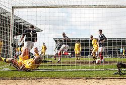 Falkirk's Blair Alston (left,hidden) scoring their third goal..Falkirk 3 v 2 Ayr United, 5/5/2012..©Michael Schofield..