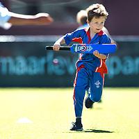 SERIE ROOKIE<br /> Nederland, Den Haag, 13-05-2015.<br /> Cricket, Competitie.<br /> Quick U9-1 - VCC U9-1<br /> Een spelertje van VCC maakt een run.<br /> Foto : Klaas Jan van der Weij