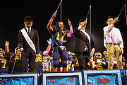 Andrew Williams (17) reacts to winning the Homecoming King during the Homecoming halftime festivities against Saratoga at Milpitas High School in Milpitas, California, on October 10, 2014. Milpitas beat Saratoga 49-0. (Stan Olszewski/SOSKIphoto)