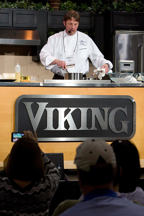 The Washtington State Wine commission organized the Taste Washington  Grand Tasting  event at the Seattle Qwest Event Center on 3/27/11. Chef Clinton Jone - Muckleshoot Casino  does a cooking demo  on the Viking  Chef stage.