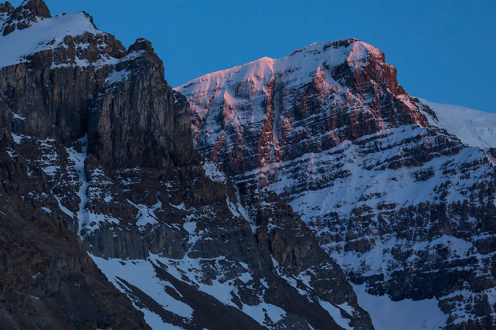 The classic alpine climbg A-Strain on Mt Andromeda in the Columbia Icefields, Jasper National Park, Alberta, Canada