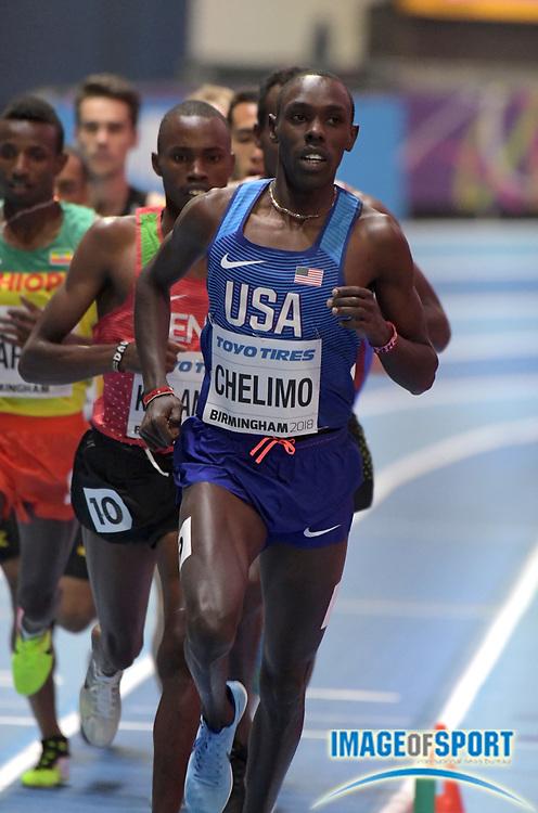 Mar 2, 2018; Birmingham, United Kingdom; Paul Chelimo (USA) runs in a 3,000m heat during the IAAF World Indoor Championships at Arena Birmingham.