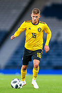 Thorgan Hazard (#16) of Belgium on the ball during the International Friendly match between Scotland and Belgium at Hampden Park, Glasgow, United Kingdom on 7 September 2018.